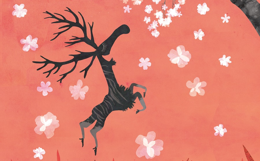 Artwork with a dancing, happy moose surrounded by white flowers on an red background.