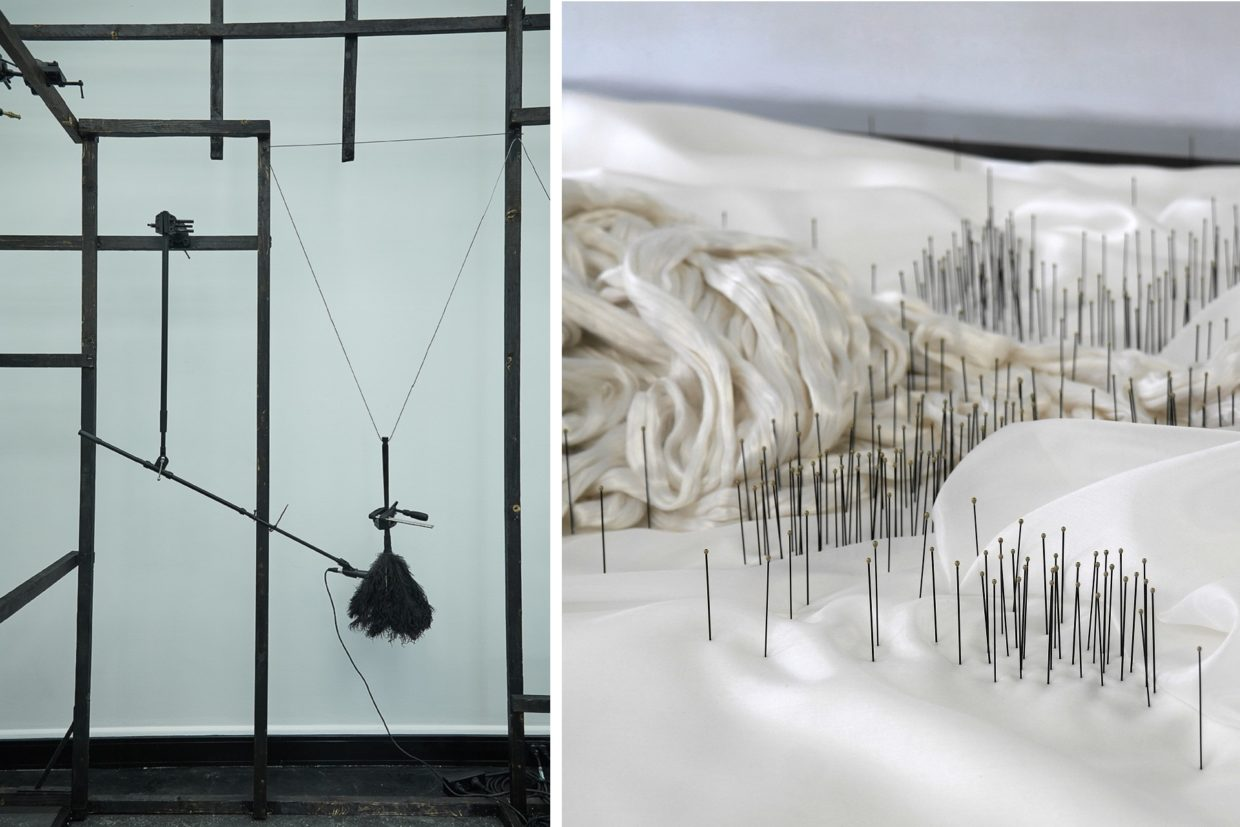 Picture of two artworks, one consisting of black wooden rods with microphones hanging down from them (The Temple of the Golden Pavilion by Kim Hankyul) and one consisting of needles in a silk cloth (Scream of the Butterfly II by Minna Kangasmaa)