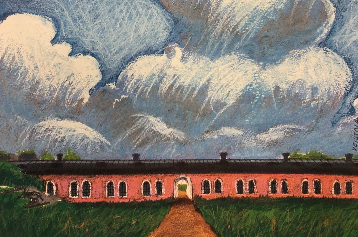 Painting of the Nordic Culture Point's facilities on Suomenlinna.