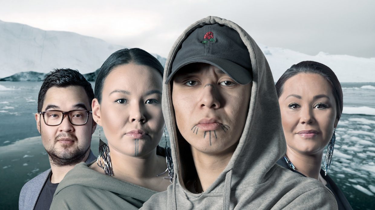 "The four main characters of the film ""The battle for Greenland"" against a Greenlandic landscape in the background."